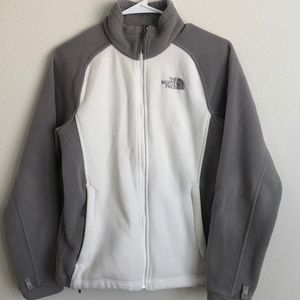 NORTHFACE SMALL FLEECE JACKET WHITE GRAY